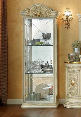 Camel Leonardo Day Ivory High Gloss and Gold Italian 1 Glass Door China Cabinet with LED