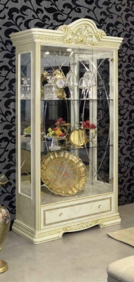 Camel Leonardo Day Ivory High Gloss and Gold Italian 2 Glass Door China Cabinet with LED
