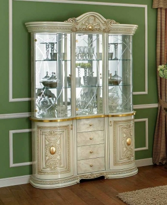 Camel Leonardo Day Ivory High Gloss and Gold Italian 3 Glass Door China Cabinet with LED