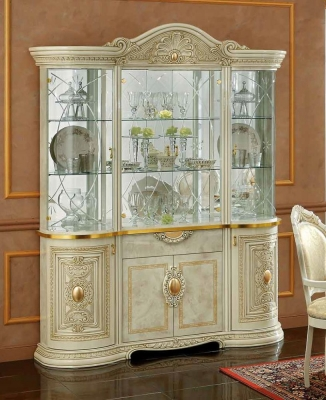 Camel Leonardo Day Ivory High Gloss and Gold Italian 4 Glass Door China Cabinet with LED