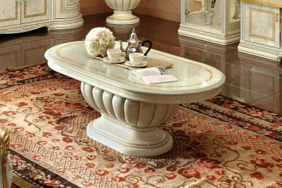 Camel Leonardo Day Ivory High Gloss and Gold Italian Coffee Table