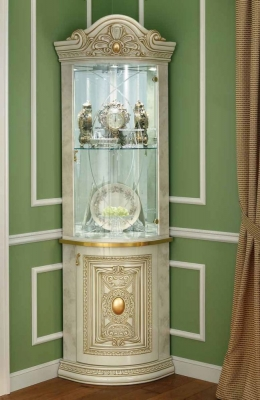Camel Leonardo Day Ivory High Gloss and Gold Italian Corner Cabinet