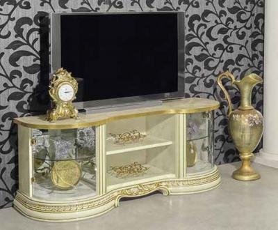 Camel Leonardo Day Ivory High Gloss and Gold Italian TV Cabinet