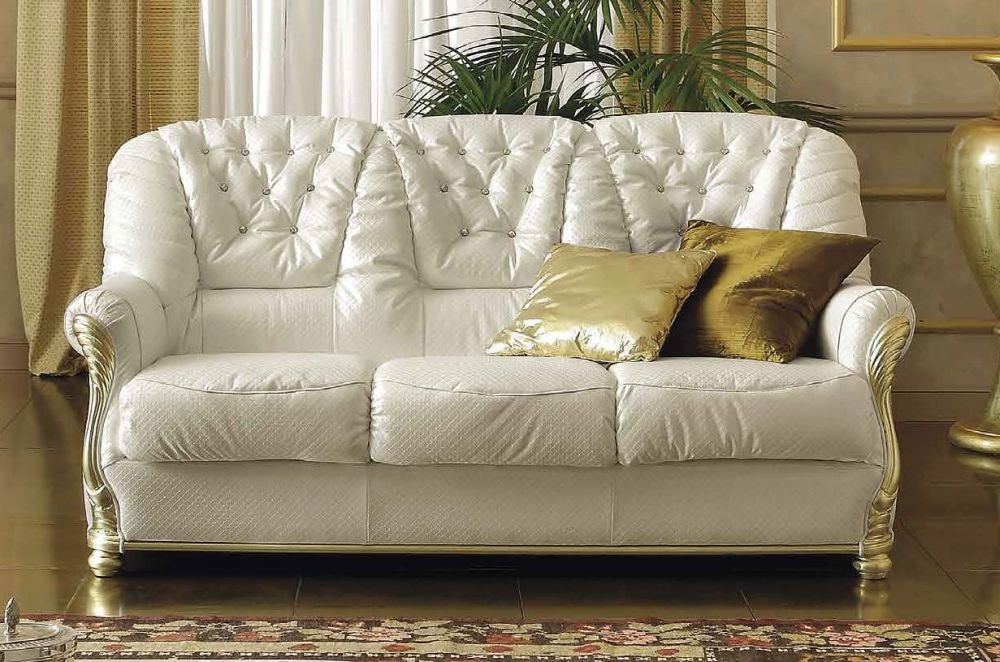 Camel Leonardo Day Italian 3 Seater Leather Sofa with Swarowsky