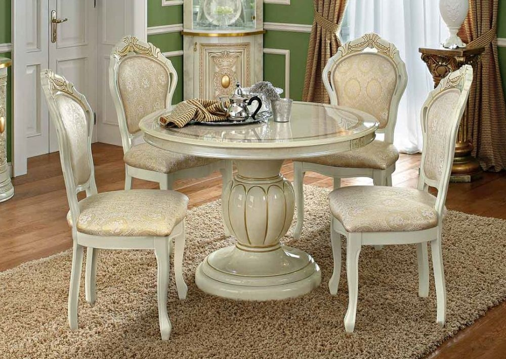 Camel Leonardo Day Ivory High Gloss and Gold Italian Round Extending Dining Table and Chairs