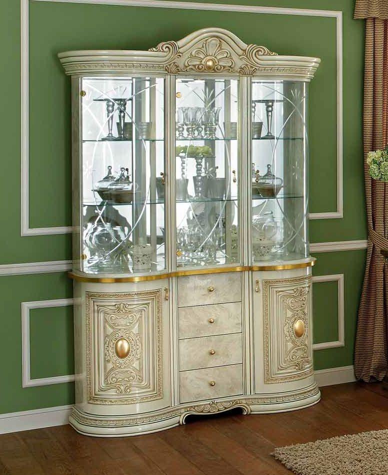 Camel Leonardo Day Ivory High Gloss and Gold Italian 3 Glass Door China Cabinet with LED