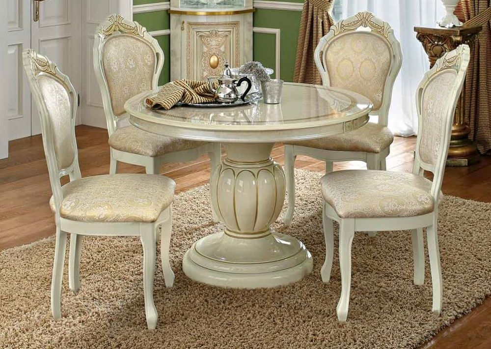 Camel Leonardo Day Ivory High Gloss and Gold Italian Round Extending Dining Table