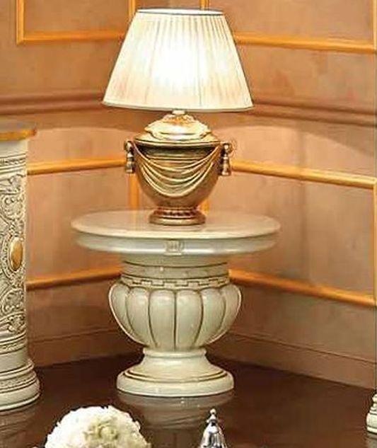 Camel Leonardo Day Ivory High Gloss and Gold Italian Lamp Table