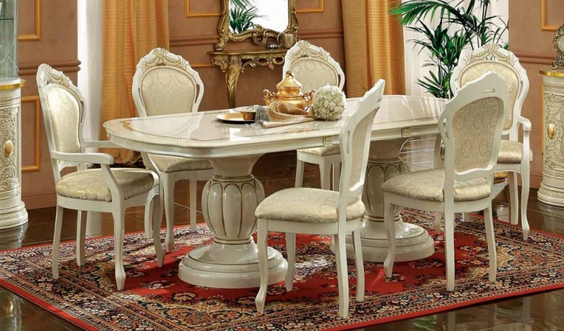 Camel Leonardo Day Ivory High Gloss and Gold Italian Oval Extending Dining Table