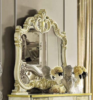 Camel Leonardo Night Italian Ivory and Gold Arch Mirror - 107cm x 116cm