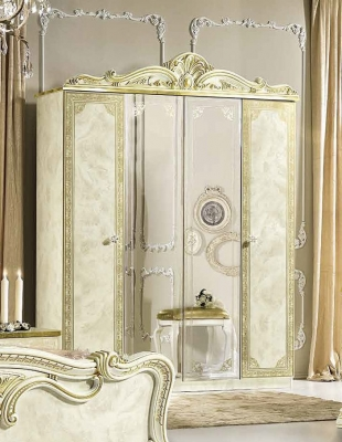 Camel Leonardo Night Italian Ivory High Gloss and Gold 4 Door Wardrobe