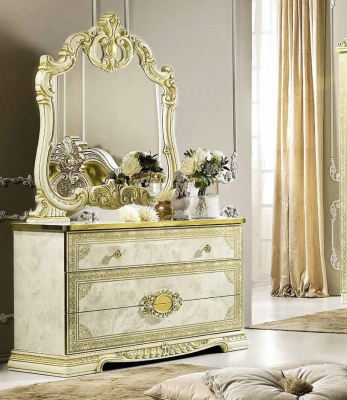 Camel Leonardo Night Italian Ivory High Gloss and Gold Dresser