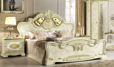 Camel Leonardo Night Italian Ivory High Gloss and Gold Upholstered Bed