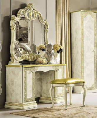 Camel Leonardo Night Italian Ivory High Gloss and Gold Vanity Dresser
