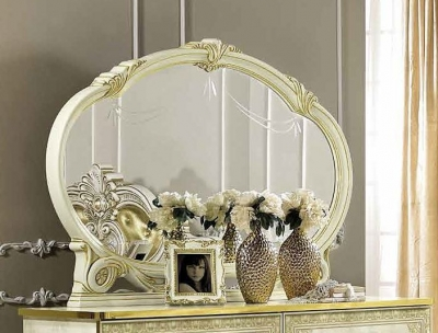 Camel Leonardo Night Italian Ivory and Gold Oval Mirror - 147cm x 106cm