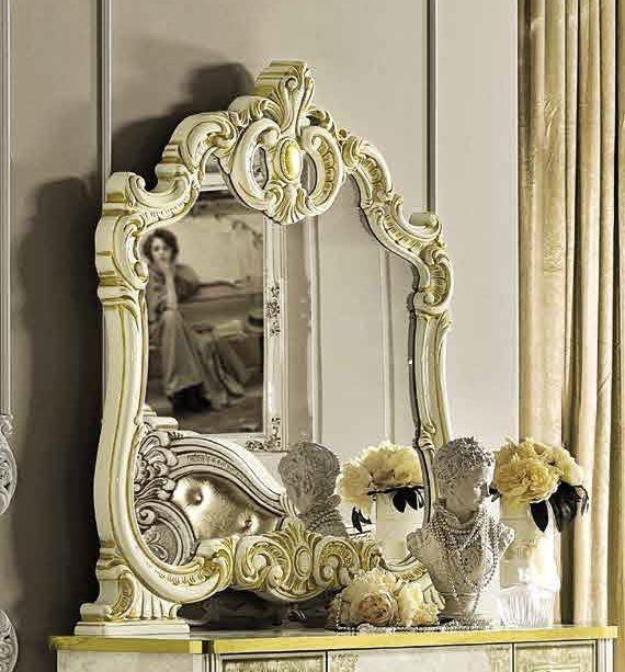 Camel Leonardo Night Italian Ivory and Gold Arch Mirror - 107cm x 116cm