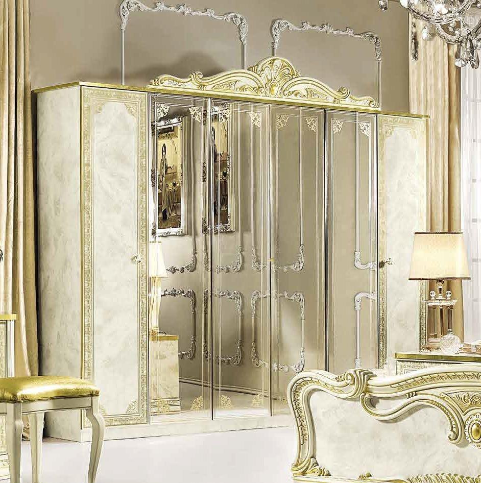 Camel Leonardo Night Italian Ivory High Gloss and Gold 6 Door Wardrobe