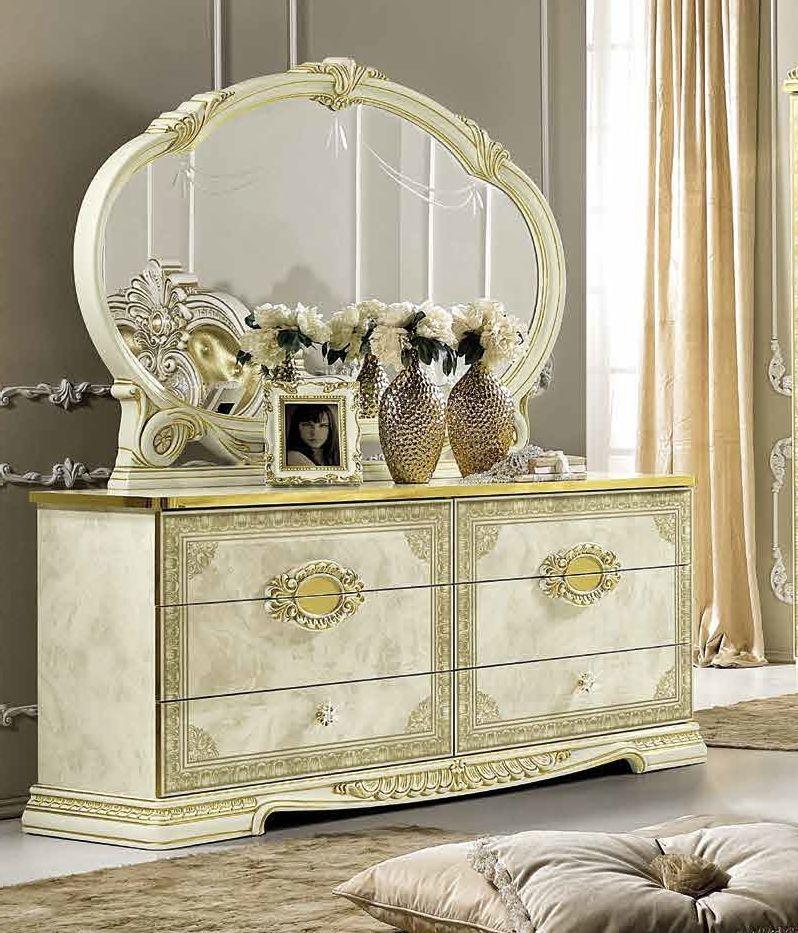 Camel Leonardo Night Italian Ivory High Gloss and Gold Double Dresser