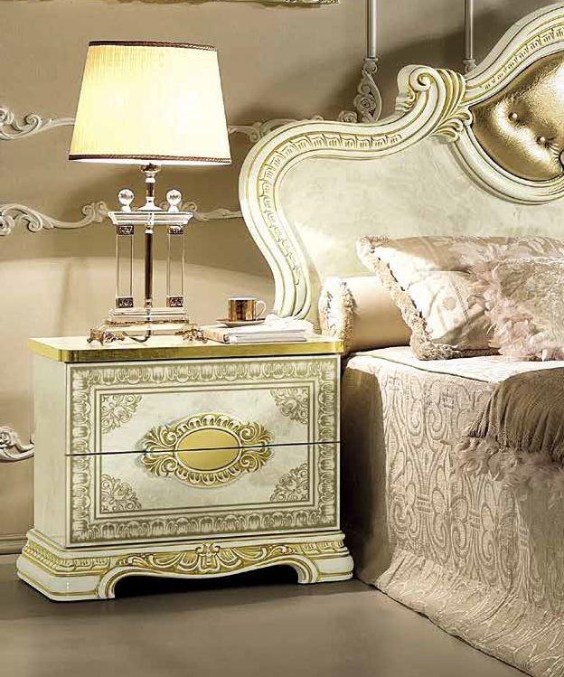 Camel Leonardo Night Italian Ivory High Gloss and Gold Bedside Cabinet