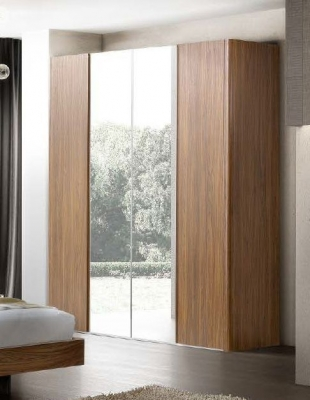 Camel Luna Night Walnut Italian Wardrobe with Mirror