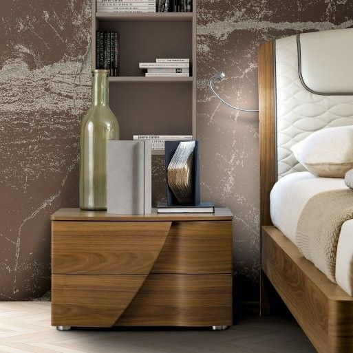 Camel Luna Night Walnut Italian Bedside Cabinet