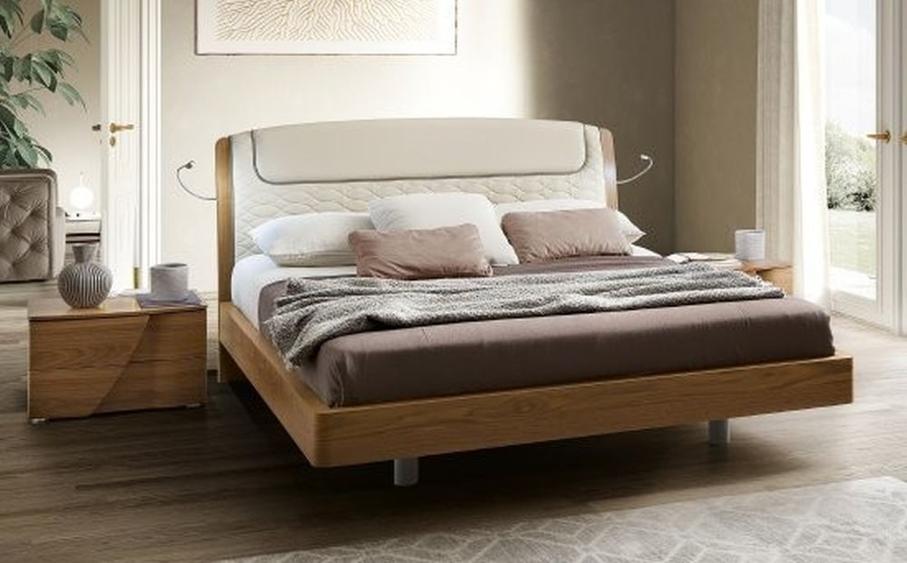 Camel Luna Night Walnut Italian Sinkro 6ft Queen Size Bed with Teknic Storage
