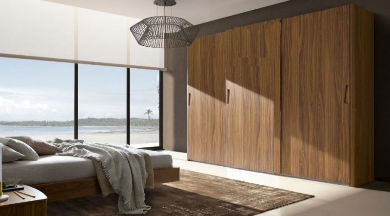 Camel Luna Night Walnut Italian Sliding Wardrobe