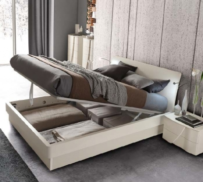 Camel Luna Night White Ash Italian Eclisse Bed with Storage