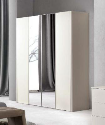 Camel Luna Night White Ash Italian 4 Door Wardrobe with Mirror