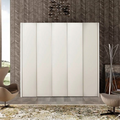 Camel Luna Night White Ash Italian 5 Door Wardrobe