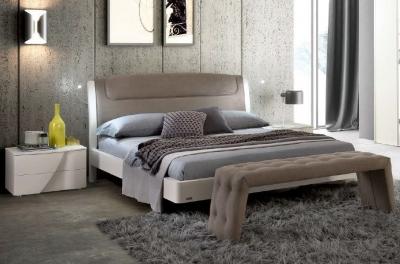 Camel Luna Night White Ash Italian Sinkro 6ft Queen Size Bed with Teknic Storage