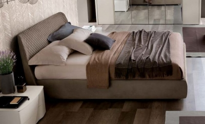 Camel Luna Night Eco Nabuk Leather Italian Kleo 6ft Queen Size Bed with Storage