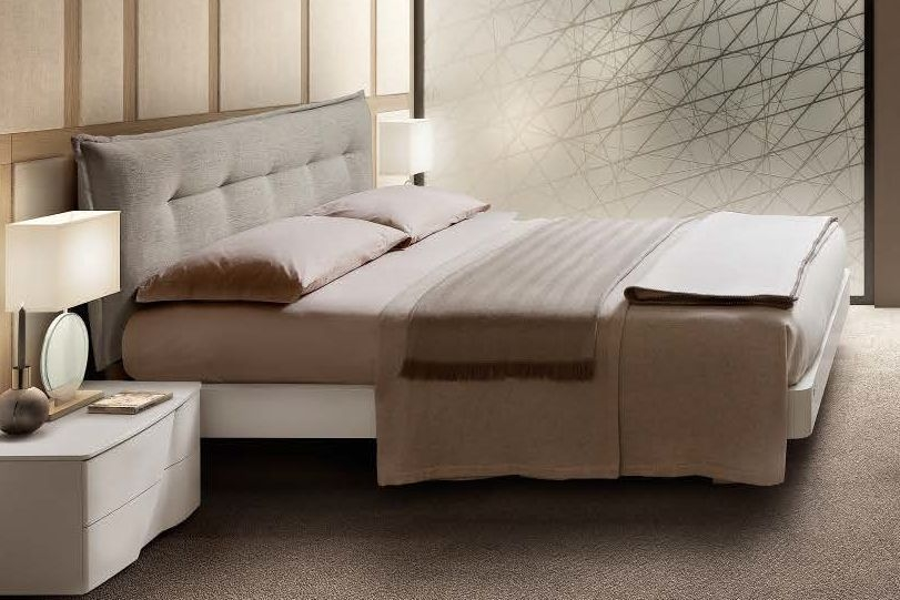 Camel Luna Night White Ash Italian Urano Bed with Storage