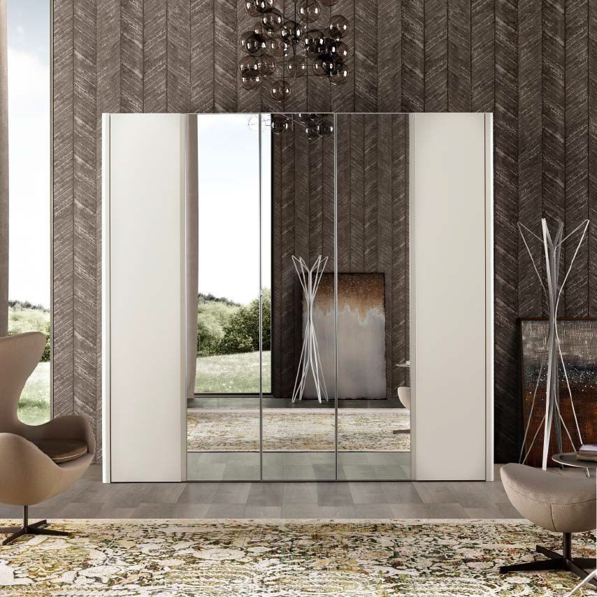 Camel Luna Night White Ash Italian 5 Door Wardrobe with Mirror