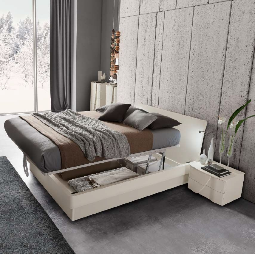 Camel Luna Night White Ash Italian Eclisse Bed with Teknic Storage