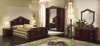 Camel Luxor Mahogany Italian Bedroom Set with Single Dresser