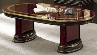 Camel Luxor Mahogany Italian Coffee Table with Decoration