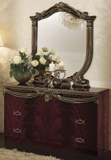 Camel Luxor Mahogany Italian Dresser - Single with Small Mirror