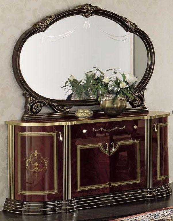 Camel Luxor Mahogany Italian Buffet - 4 Door with Large Mirror