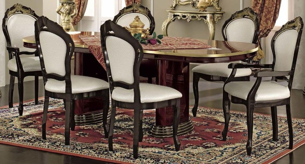 Camel Luxor Mahogany Italian Dining Set - Extenting with 4 Chairs and 2 Armchairs
