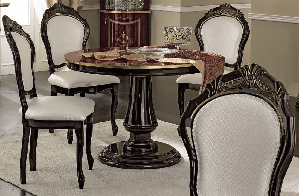 Camel Luxor Mahogany Italian Dining Set - Round Extending with 4 Chairs