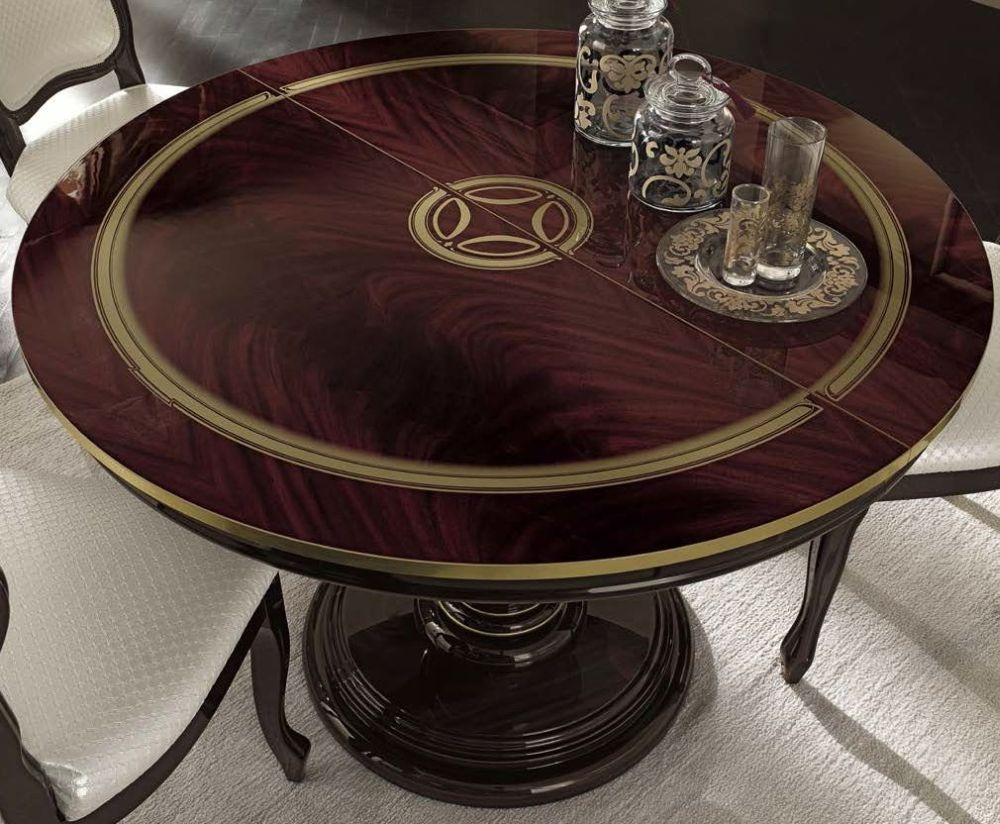 Camel Luxor Mahogany Italian Dining Table - Round with Extension