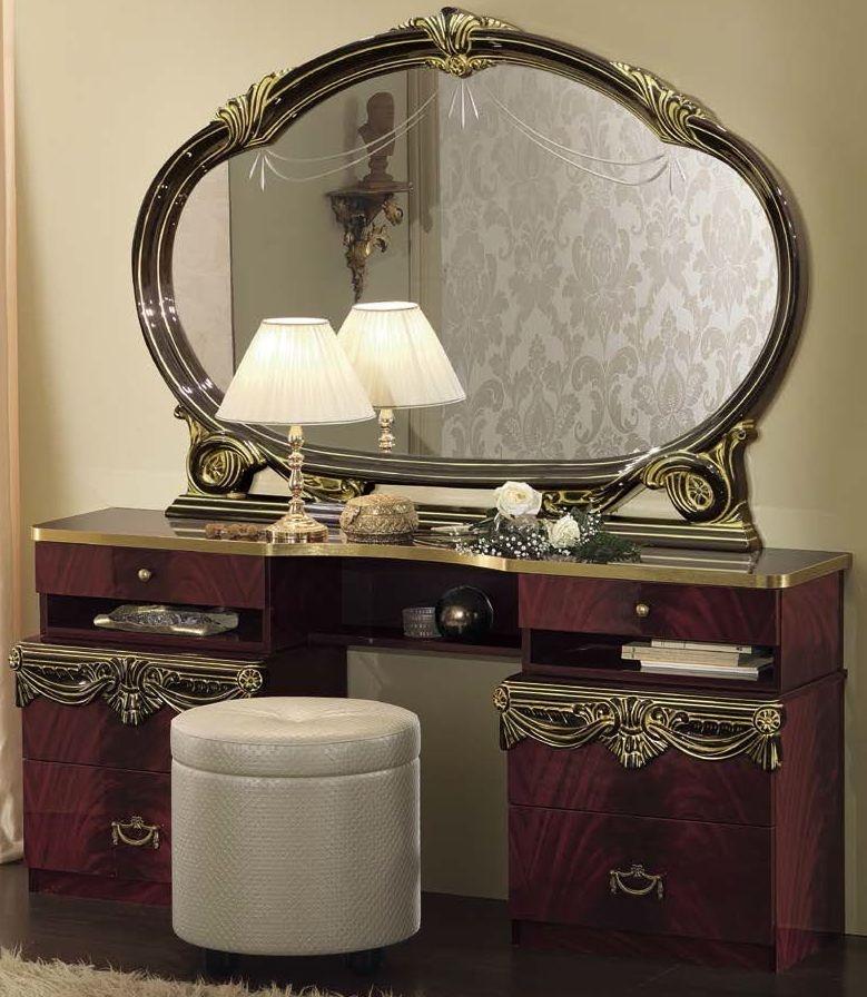 Camel Luxor Mahogany Italian Vanity Dresser with Large Mirror