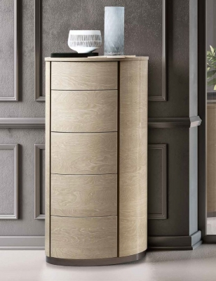 Camel Maia Night Sand Birch Italian Round 6 Drawer Chest