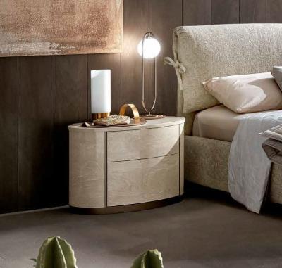 Camel Maia Night Sand Birch Italian Round Bedside Cabinet