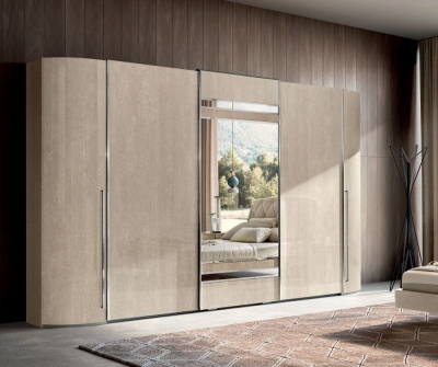 Camel Maia Night Sand Birch Italian Sliding Wardrobe