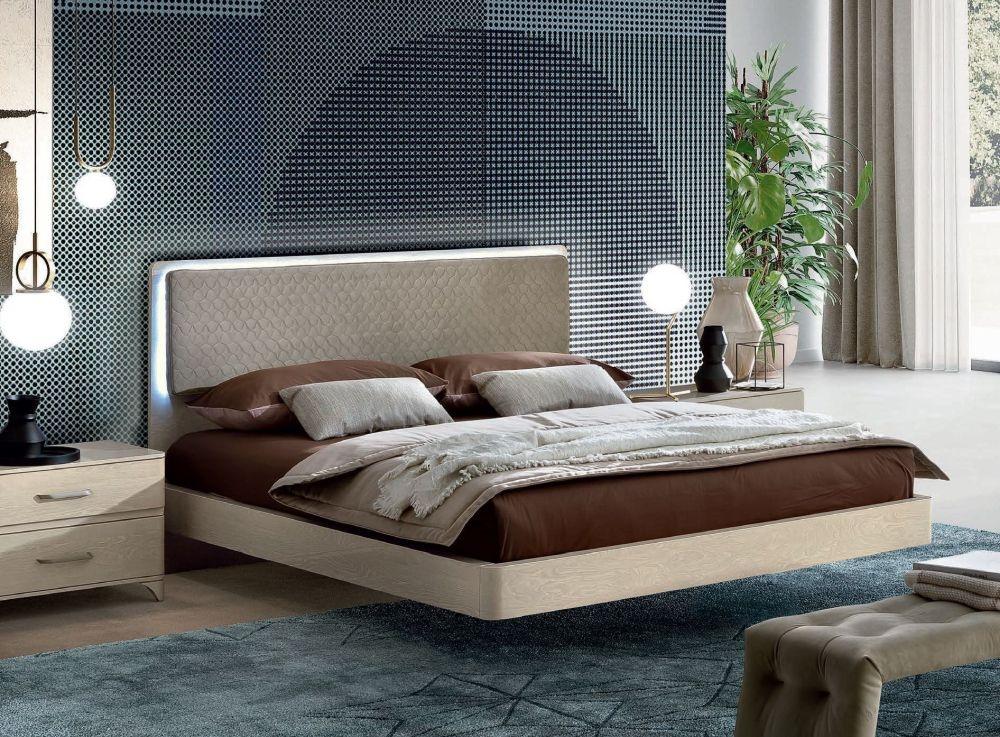 Camel Maia Night Sand Birch Italian Bed with Smoke Headboard with Luna Storage