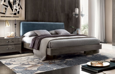 Camel Maia Night Silver Birch Italian Bed with Blue Headboard
