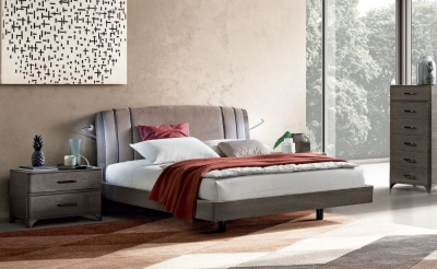Camel Maia Night Silver Birch Italian Nabuk Trendy Bed with Luna Storage
