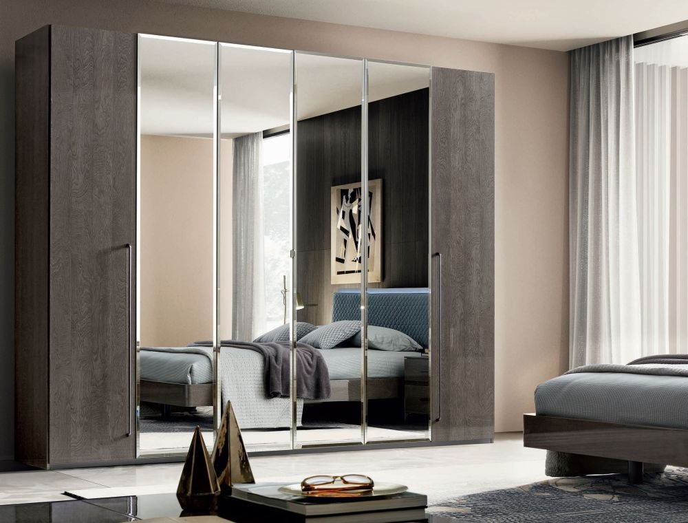 Camel Maia Night Silver Birch Italian 6 Door Wardrobe with Mirror